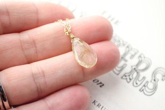 Gold Filled Pendant Necklace | Gemstone Necklace | Golden Rutilatied Quartz | Teardrop | Bridal Bridesmaids Wedding | Cocktail Jewelry