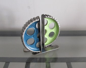 Pair of Turquoise and Lime Green Gear-half Bookends