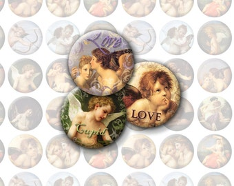 Valentine's Day Bottlecap Images / Instant Download / Vintage Cupid Love / Printable Digital Collage 1-Inch Circles / Cherubs, Angels, Art