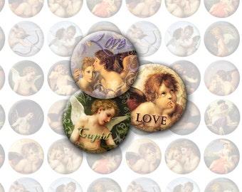 Valentine's Day Printable 1-Inch Circles / Cupid Bottlecap Images / Instant Download / Vintage Love / Digital Collage / Cherubs, Angels, Art
