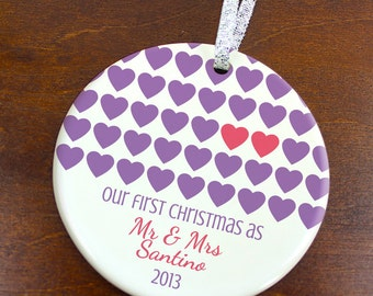 Our First Christmas as Mr & Mrs Ornament- Couple Hearts - Personalized Porcelain Newlyweds Holiday Gift- Just Married - orn234- Custom Color