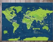 Large World Map Mounted on Foam Board, Detailed Map,30X50 Inches, World Travel, Honeymoon, Vacation Art, Travel Map
