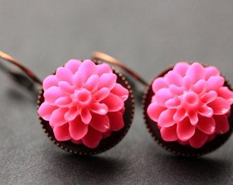 Hot Pink Dahlia Flower Earrings. French Hook Earrings. Fuchsia Pink Flower Earrings. Lever Back Earrings. Handmade Jewelry.