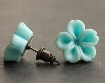 Aqua Blue Flower Earrings. Aqua Blue Earrings. Bronze Post Earrings. Innie Flower Button Jewelry. Stud Earrings. Handmade Jewelry.