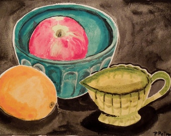 Juicy, is a Bright and Happy Still Life, Original Painting