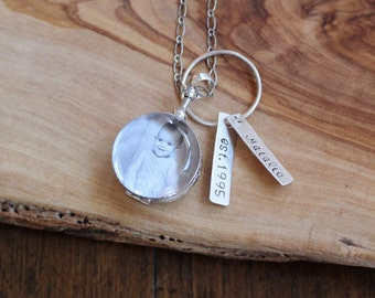 Antique Glass Picture Locket With Personalized Hand Stamped Charm Mothers Gift
