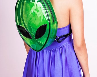 AS IS DISCOUNTED Alien Clear Green Backpack/ Vinyl/ Pvc/ Clubkid/ Rave/ Festival/ Bag/ Purse