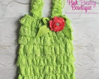 Lace Petti Romper - 3 pc SET- Lime Petti Romper- Baby Rompers -Baby Girl Rompers - Baby Girl 1st Birthday Outfit - Baby Romper
