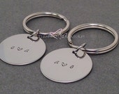 Initials Keychain Hand stamped for Couples heart, couples gift, couples keychains, Wedding Gift, Anniversary Gift, mr mrs gift