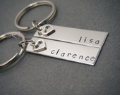 Couples Keychain Set, Key Chain, Accessory, Customized Keychain, Stainless Steel, Hand Stamped Keychain, Heart Charm, Girlfriend Gift