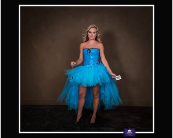 Adult Halloween Costume/ Adult Tutu/ Alice in Wonderland Costume, Burlesque, High Low Tutu, Hi Lo Skirt, Ladies Halloween Costume, Blue Tutu