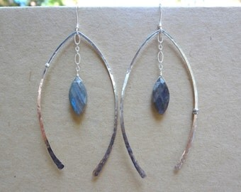 Labradorite marquise faceted briolette and hammered sterling silver wishbone earrings. Long unique abstract earrings for women and teens.