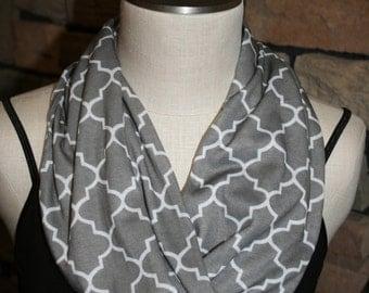 Quatrafoil Polyester Jersey Infinity Scarf-Grey Quatrafoil Circle Loop Infinity Scarf-Accessories-Gray Quatrafoil