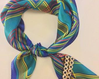 Colourful line pattern 100 Percent Silk Scarf