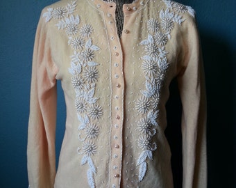 Vintage 1950's Fully Fashioned Beaded Wool Cardigan