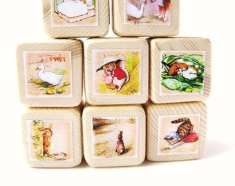 The Tale of Peter Rabbit. Baby shower decoration. Beatrix Potter. Wood Baby Blocks. Toy. Shabby Chic Nursery Decor. Easter gift for children
