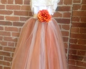 Burnt Orange Tulle Gown With Lace Collar Junior Bridesmaid Dress