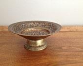 Vintage Enameled Brass Pedestal Bowl India Meenakari
