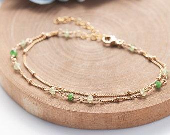 Tsavorite Bracelet, Garnet Bracelet, Green Tsavorite Garnet Delicate Gold Bracelet, Dainty and Feminine, Romantic Jewelry, Green Stone