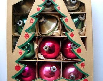 Vintage Ornaments,Shiny Brite Glass Christmas Tree Ornaments,Christmas Decoration,Christmas Trees,21 Ornaments