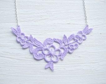 Lavender Flower Lace Necklace