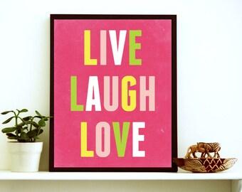 Live Laugh Love Wall Art - Wall Art For Teen Girls - Inspirational Quote For Kids - Teen Girl Wall Art - Thanksgiving Decor - Dorm Room Art