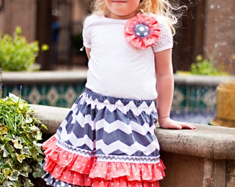 READY TO SHIP Size 5T Grey and Coral Chevron Designer Ruffle Skirt with Flower Pin and Matching Bow