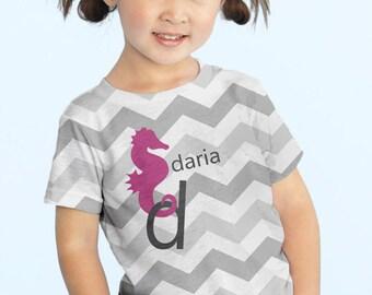 Girl's Chevron Shirt, Personalized Seahorse Tshirt, Girls Clothing, girls top