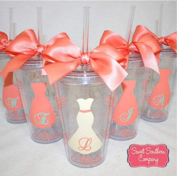 8 Personalized Bride and Bridesmaids Acrylic Tumblers