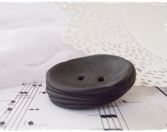 Polymer Clay Button, Extra Large Button, Abstract Jumbo Button, Oversized Clay Button, Extra Large Button, Very Big Button, Big Black Butoon