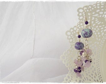 Dangling Earrings, Long Amethyst Earring, Polymer Clay Jewelry, Lilac Earring, Pastel Spring Earrings, Dangle Stone Earrings, Beaded Jewelry