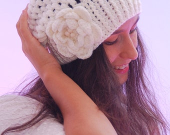 EXPRESS SHIPPING to US, Canada! Ivory Knit Cap, White Slouch Hat, Floral Knit Beret, Winter Accessories for Women