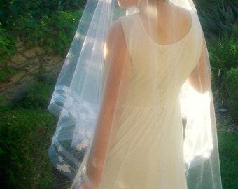 Horsehair Wedding Veil, Lace Bridal Veil -Horsehair Veil, Drop Veil -White Wedding Veil -Horsehair Ribbon Veil with Blusher Fingertip Waltz