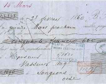 1860 Antique French Paris Receipt Document Pretty Typography Blue Paper from Vintage Paper Attic