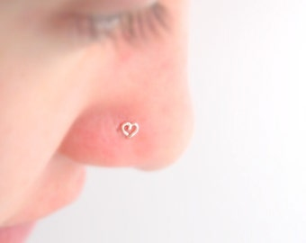 """Tiny Heart """"L"""" Nose Stud in Sterling Silver"""