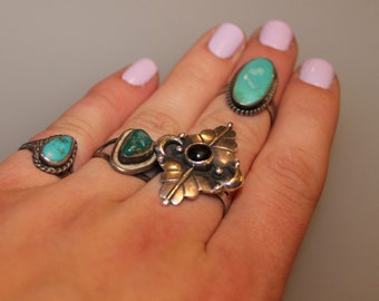 Vintage Natural Nugget of Green and Blue Turquoise Sterling Silver Ring SIZE 7 Beautiful Native American and Southwestern Simple and Classic