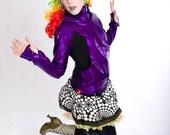 FESTIVAL SALE! Holographic Women's Zip Hoodie in Royalty Purple-- BeastWares Once and Future Hoodie