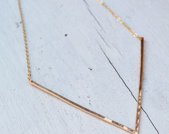 Venus Necklace- 14K Gold Filled,  Big V Necklace, Sterling Silver Chevron Necklace, Simple Gold Necklace, Minimalist Gold Bar necklace