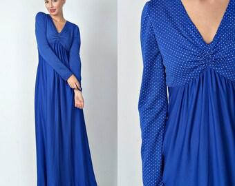 Vintage 70s Blue Maxi Dress Mod Hippie Boho Polka Dot Print Small S 1511