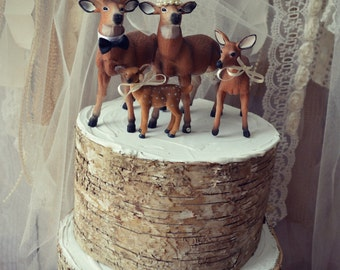 Deer-family of four-family-wedding-cake topper-hunter-hunting-bride-groom-child-baby-deer family-deer wedding-camouflage-buck-doe-fawn