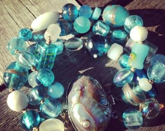 Last ONE Ocean Waters Knotted Abalone Cuff Bracelet Lampwork Beads Ocean Blues