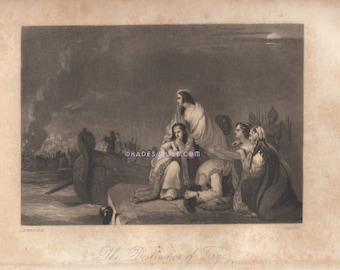 Destruction Of Troy-Greek Mythology-Trojan War-Love-Lust-Helen-King Of Sparta-Homer's Illiad-1854 Antique Vintage Art Print-Gothic-Picture