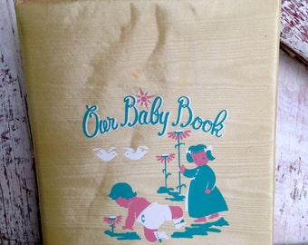 Baby Record Book Vintage Our Baby Book Satin Cover 30 Pages Unused
