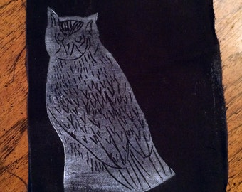 Owl - Hand Printed Patch