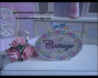 """Picture. Sign for shop or dollhouse. """"Blue cottage"""". Miniature for dollhouse at 1/12 scale"""