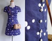 Vintage 60's Navy Bubble Dot Embroidered Drop Waist Mod Mini Dress XXS or XS