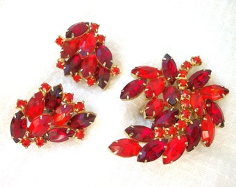 Vintage Brooch & Clip on Earrings Set Magnificent Cranberry Red and Deep Fire Orange ~ Non Pierced Earrings ~ Old Hollywood Glam ~ Sparkling