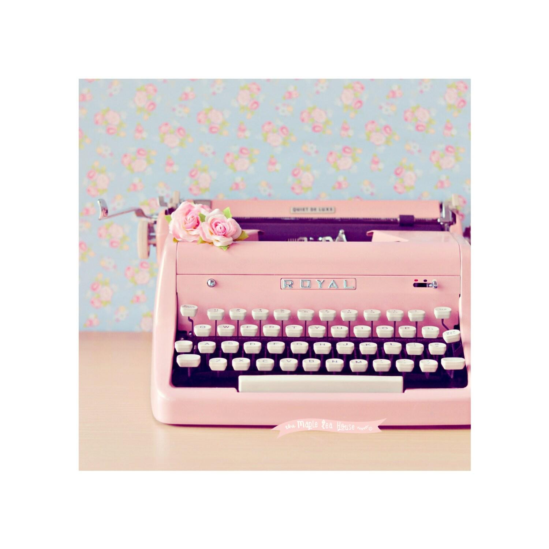pink royal digital download typewriter photograph. Black Bedroom Furniture Sets. Home Design Ideas