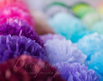 Pick your colors: 50 large and 20 medium  paper Pom poms party set /weddings / birthday party decorations /beach wedding /bridal baby shower