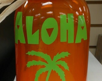 Solar powered lid light with mason jar and vinyl ALOHA